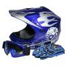 TCMT Dot Youth & Kids Motocross Offroad Street Helmet Blue Skull Motorcycle Helmet Silver Dirt Bike Helmet+Goggles+gloves L