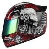 1STORM MOTORCYCLE BIKE FULL FACE HELMET MECHANIC SKULL – Tinted Visor RED