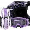 Adult Offroad Helmet Goggles Gloves Gear Combo DOT Motocross ATV Dirt Bike MX Purple Splatter ( Medium )