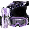 Adult Offroad Helmet Goggles Gloves Gear Combo DOT Motocross ATV Dirt Bike MX Purple Splatter ( Medium )