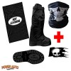 Motorcycle Boot Covers – Outdoor Protective Riding Rain Suit Gear Waterproof Weatherproof – Full Shoe Slip Over – Rainstorm Rainy Days Plus Carry Bag, Skull Decal & Skeleton Riding Face Mask (L)