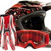Adult Offroad Helmet Goggles Gloves Gear Combo DOT Motocross ATV Dirt Bike MX Black Red Splatter ( Medium )